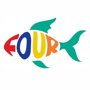 Stylish number four in fish shape svg
