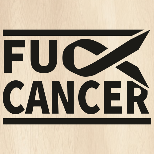 Fuck Cancer With Ribbon Svg