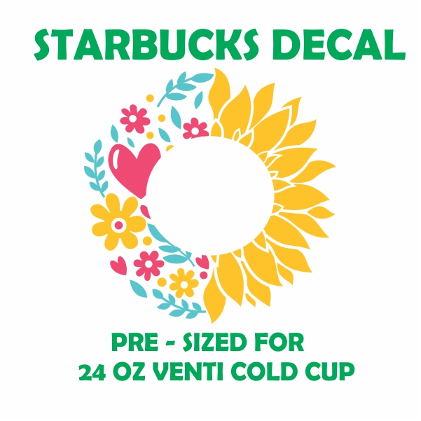 Starbucks Heart And Sunflower Svg