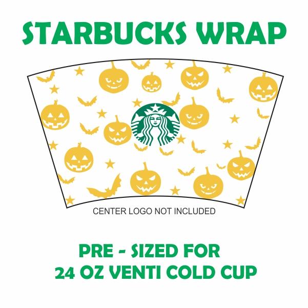 Full Wrap Pumpkin Halloween Starbuck Cup Svg