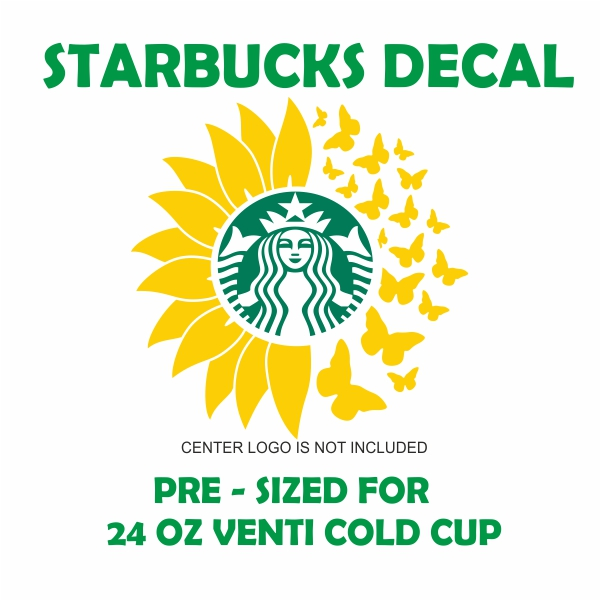 Starbucks Sunflower And Butterfly Svg