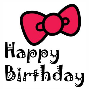 Happy Birthday Hello Kitty Bow svg