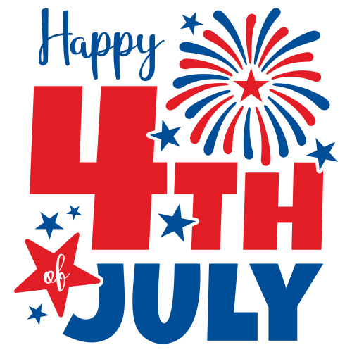Happy 4th of July Red Blue Svg