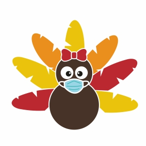 Turkey With Bow and Mask Svg