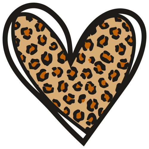 Leopard Heart Pattern Svg