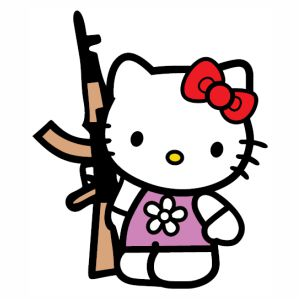 Hello Kitty With  Gun svg
