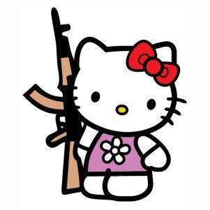 Hello Kitty With  Gun vector
