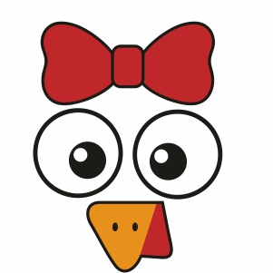 Turkey Face With Bow Svg