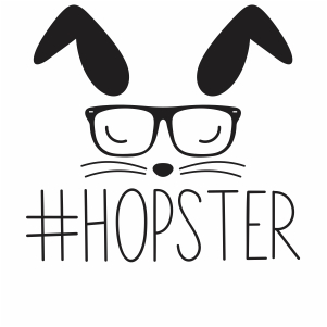 hoppy hopster bunny with glasses  svg