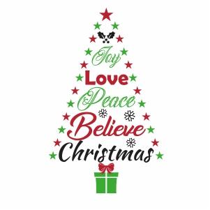 Joy Love Peace Believe Christmas Tree Svg