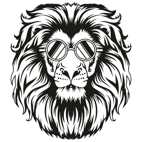 Lion With Glasses Svg