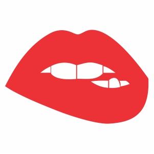 biting lips svg