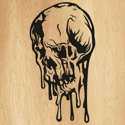 Melting Horror Skull SVG