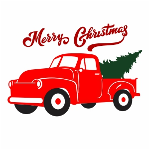 Christmas Red Truck Svg