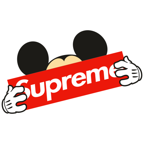 Mickey Mouse Wearing Supreme Svg