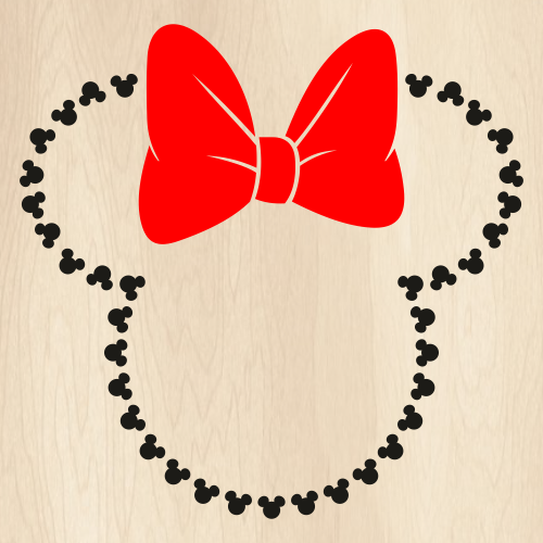Minnie Heads Outline With Bow Svg