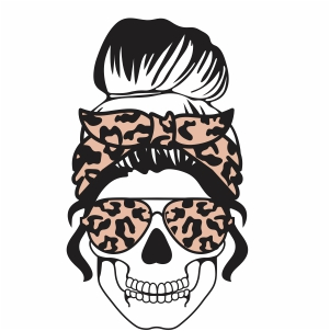 Messy Bun Mom Skull Svg