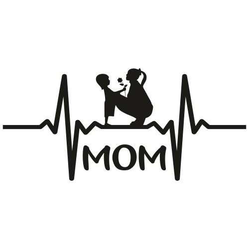 Mom Heart Beat Svg