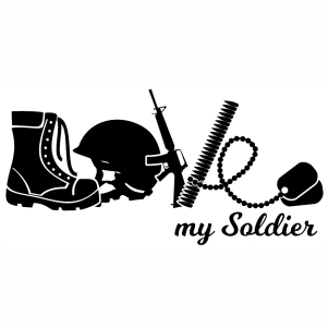 Love My Soldier silhouette svg cut