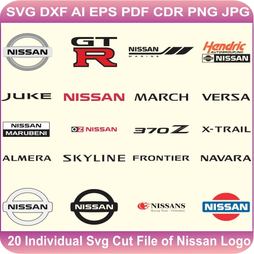 Nissan Car Pack Logos Svg Cut Files