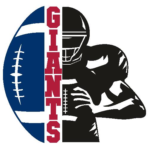 Giants Distressed Football Half Player Svg