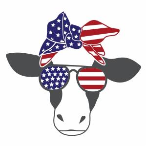 Cow Usa Flag Glasses Vector