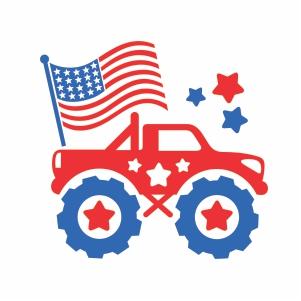 Monster Truck Usa Flag Vector