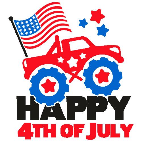 Patriotic Monster Truck American Flag Svg