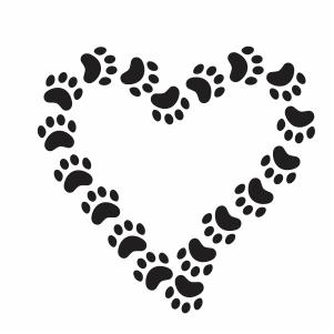 Paw heart shape vector file