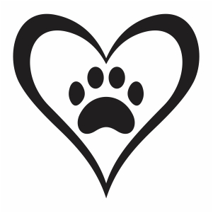 Paw with heart svg file
