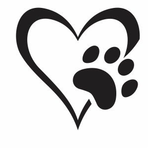 Open Heart Paw Print svg file