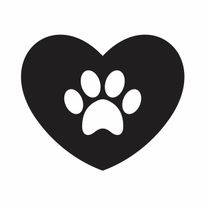 animal Paw with Heart vector file