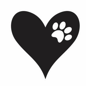 Dog Cat Paw Heart svg file