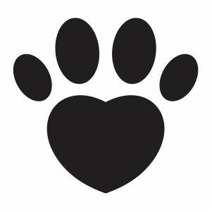 Paw heart shape svg file