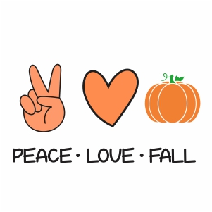 Peace Love Fall Pumpkin Vector