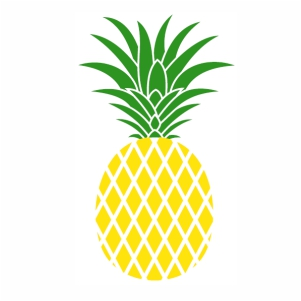 Pineapple fruit with green leaves svg cut