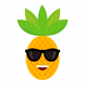Cool pineapple with sunglasses smile svg cut