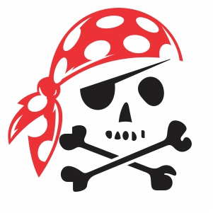 Pirate Skull With Bandana Svg
