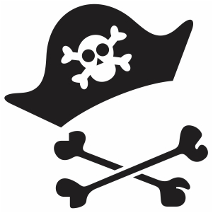 Pirate Hat with Crossbones Svg