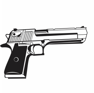 Powerful pistol handgun vector