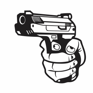 Hand holding a pistol vector