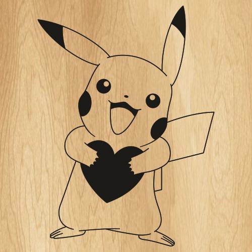 Pokemon Pikachu Heart Svg