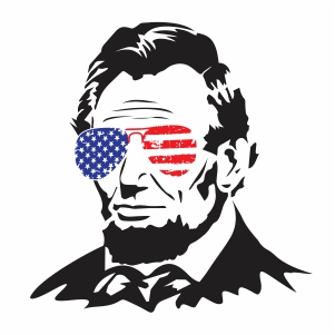 Abraham Lincoln In Flag Glasses Vector