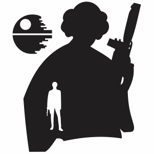 Princess Leia and Han Solo with Death star svg cut file