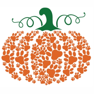 Pumpkin Paw Print Dog Halloween vector clip art