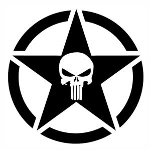 Punisher Skull Star svg cut