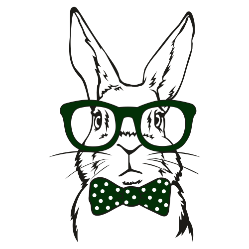 Rabbit With Glasses Bow Svg