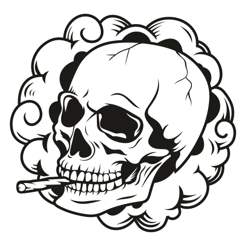 Smoking Rastas Skull Svg