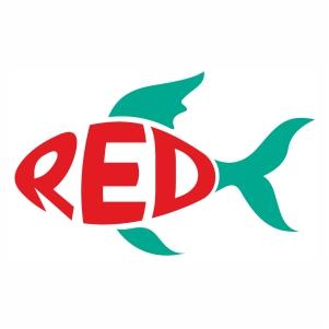 Stylish Red fish shape svg cut