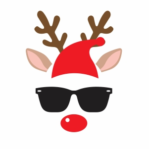 Deer With Santa Hat Svg